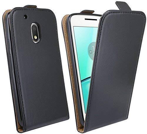 ENERGMiX Klapptasche Schutztasche kompatibel mit Lenovo Moto G4 Play in Schwarz Tasche Hülle Flip-Cover Hülle Schale