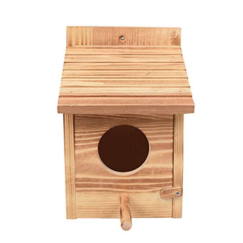 Eleusine Vogelhaus, Massivholz-Vogelhaus, wetterfestes Vogelhaus-Design, leicht zu reinigen, Sicherheitsschloss, Entlüftung, Kaminnut (kohlensäurehaltige Holzfarbe)