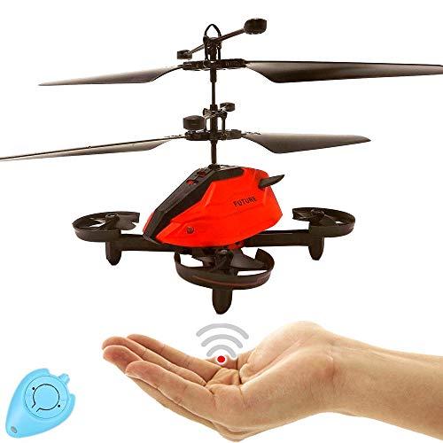 Future Kinder RC Drohne Quadrocopter Hubschrauber mit Sensorsteuerung (Rot) Einfach zu Steuern per Handbewegung Gestiksteuerung Inklusive IR Fernbedienung Drone Helicopter Quadcopter Drohne für Kinder
