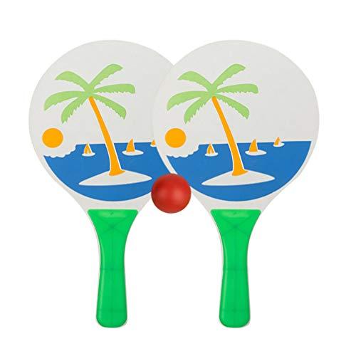 BESPORTBLE 3ピースビーチテニスラケット木製パドルゲームセット子供バドミントンボール屋内キッズゲーム屋内で屋外でボールで遊ぶ(2ピースラケット+ 1ピースボール)