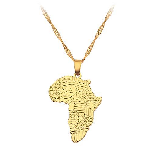 Collar De Mapa,Unisex Elegante Símbolo De Tótem Contorno Africano Cadena Dorada Mapa Colgante Collar Único Encanto Étnico Joyería para Mujeres Niños Hombre Niña Viajes Cumpleaños Boda Conmem