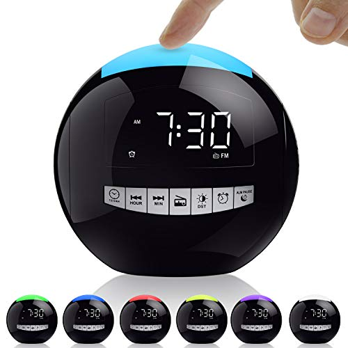 OnLyee Digital Alarm Clock with FM Radio, 7-Color Night Light, 3 Loud Sounds, Battery Operated, Dimmable LED Display, USB Charging, Sleep Timer for Bedroom, Kitchen, Office,Kids
