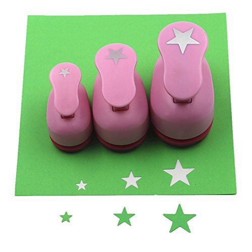 CADY Crafts Punch Set 8mm 15mm 25mm Paper Punches 3pcs/Set (Star)