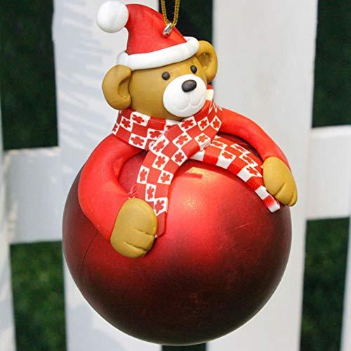 VVA Palle di Natale Forma di Babbo Natale Addobbi Natalizi 7cm Christmas Ball Ornaments Decorationdi Palla di Natale Decorazione per la Decorazione dell Albero(4pcs),D*4