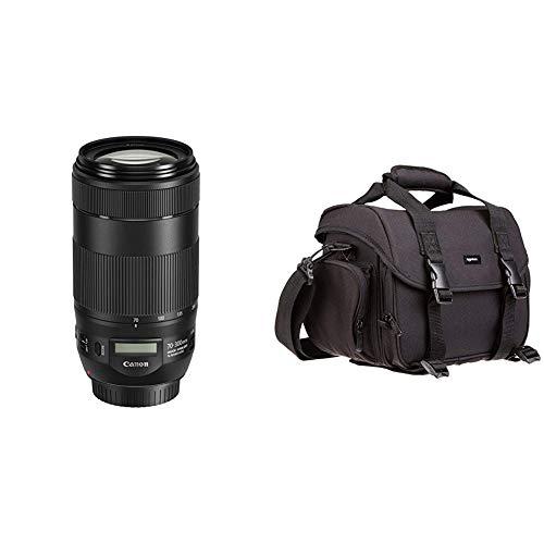 Canon EF70-300mmF/4-5.6isII USM Objektiv (67 mm Filtergewinde) schwarz & AmazonBasics - Große L Umhängetasche für Kamera und Zubehör, Schwarz mit grauem Innenfutter