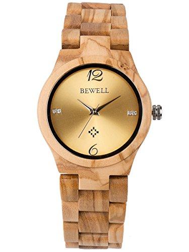 Alienwork Damen-Armbanduhr Quarz gelb mit Holz-Armband Gold Holzuhr Natur-Holz