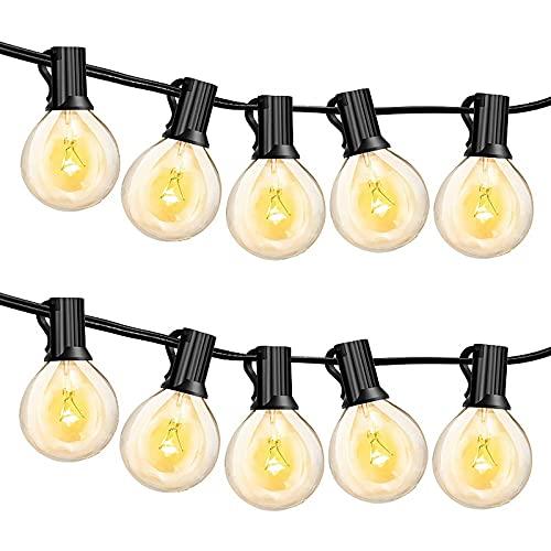 OeyeO Cadena luminosa exterior, impermeable, cable de luces decorativas para interior y exterior, cadena de luces con 25 G40 7,5 m, blanco cálido, para jardín, boda, fiesta, Navidad, Halloween