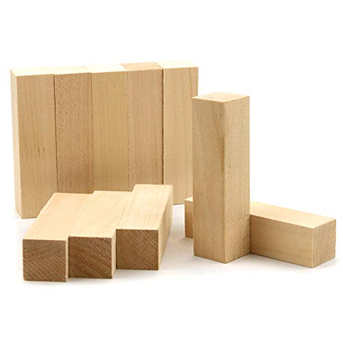 WYKOO 10 Pack Basswood Carving Blocks, 4 X 1 X 1 Inches Soft Solid Wooden Blocks, Unfinished Wood Whittling Blocks for Carving and Whittling, Beginner, Expert