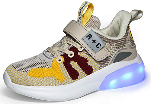 Voovix Bambini LED Light up Scarpe Low-Top Ricarica USB Sneakers Lampeggianti Unisex Scarpe da Ginnastica Lucide per Ragazzi e Ragazze, Giallo34