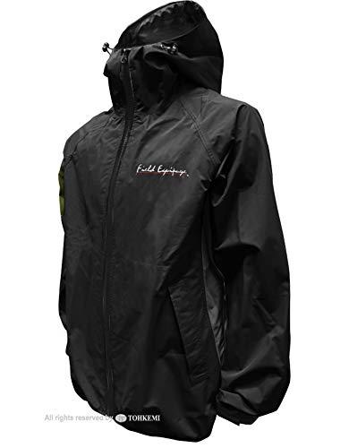 トオケミ(TOHKEMI)【FieldEquipage】全天候型アウトドア(透湿レイン)ウェアFEストレッチ(スリムフィット)RainSuit(#7900)+キャリーポーチセット(色選択可能)(ブラック,3L)