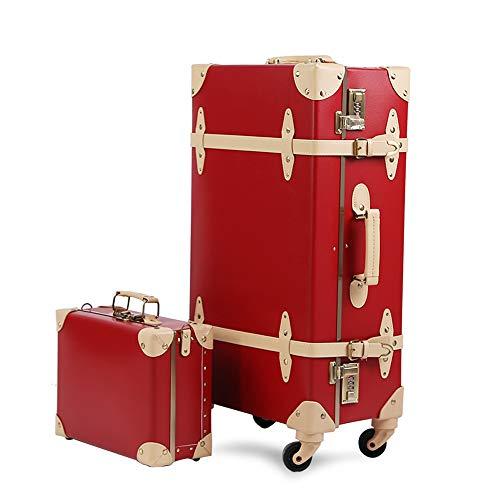 urecity Vintage Juego de Maletas de Viaje con Bloqueo numérico Lujo Linda Retro Equipaje de Mano vueling con Varilla telescópica (Hepburn Rojo, 22'(53 x 35 x 20cm)&12')