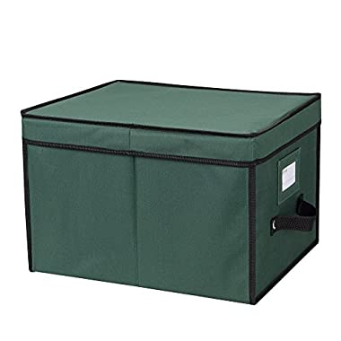 "Primode Xmas Light Box Organizer | Holiday Light Storage Box with Lid (15"" x 12"" x 10"") (Green)"