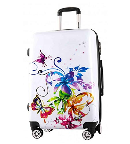 Print Trolley Bags Bowatex Motiv Reise Koffer Schmetterling Blume Weiß L 66 cm