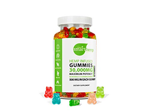 Smart Hemp Gummies - 30,000 MG - 500 MG per Gummy - 100% Natural Hemp Oil Infused Gummies - Stress Relief, Inflammation, Sleep, Anxiety, Depression - Made in The USA