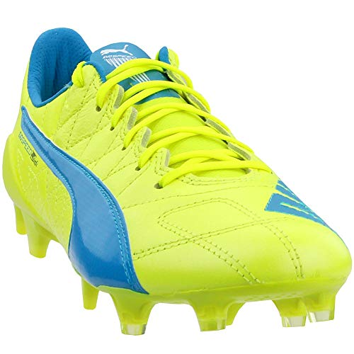 PUMA Mens Evospeed Sl LTH FG Shoes, Safety Yellow Atomic Blue White Size 10
