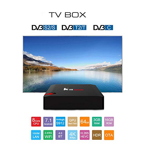 HCDMRE KIII Pro S912 3G + 16G Android 7,1 3G RAM 16G ROM Amlogic S912 64 bit Octa Core Arm Cortex-A53 CPU 4K HD 2.4 G/5G Red WiFi Set Top Box T2 + S2 Reproductor de Red con DVB TV Box