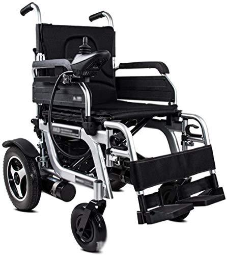 LTHDD Silla de Ruedas eléctrica, Anciano Completamente automático Plegable aleación de Aluminio liviano con discapacidad, Negro, Negro, Color Nombre: Negro (Color : Black)