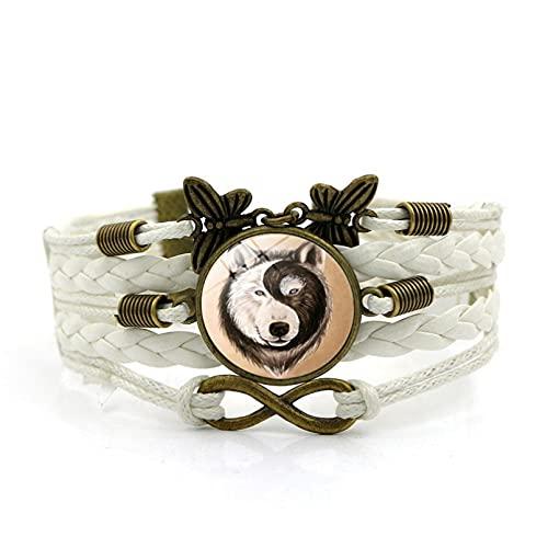 N/A Accesorios para Hombres y Mujeres Accesorios Yin Yang Wolf Time Gem Bracelet Vintage Butterfly Pulsera de Cuero Tejida a Mano Pulsera Aniversario Día de la Madre Regalo de cumpleaños de Navidad
