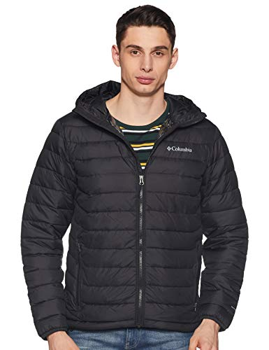 Columbia Chaqueta Impermeable con Capucha para Hombre, Powder Lite Hooded Jacket, Negro...