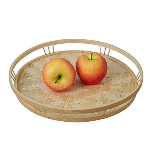 Made Terra Bamboo Wicker Round Serving Trays with Handles, Handwoven Serving Platter Trays for Coffee, Breakfast, Bread, Food, Dish and Decorative Trays for Dining Table (1 Pack)