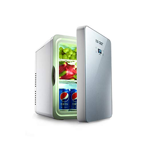 FDY 22L Minikühlschrank, Kühler & Wärmer, Temperatur einstellbar Elektrisch Kleiner Kühlschrank, Tragbare Gefriertruhe, für Schlafzimmer Büroauto Reisen,Silver
