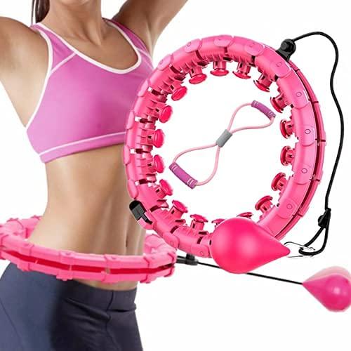 crosppooxx Aro de ejercicio para adultos principiantes, ejercicio inteligente 2 en 1 para el abdomen, fitness, pérdida de peso, masaje de 360°, nudo desmontable de tamaño ajustable
