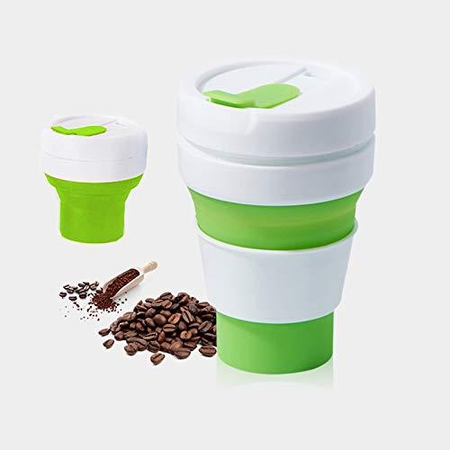 YOUZHIXUAN Coffee Tool 350ml Taza de Viaje Plegable de té de café Plegable al Aire Libre, tamaño de Bolsillo, Taza de Silicona con Tapa (Negro) (Color : Green)