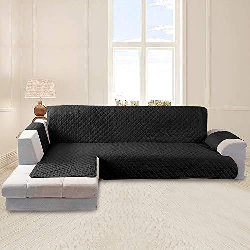 Funda Cubre Sofá Impermeable Funda Sofa Chaise Longue Protector para Sofás Diseño de Doble Cara con Chaise Longue Acolchada en Esquina para el Sofá en Forma de L Pelusa Antiadherente(Negro, 200cm)
