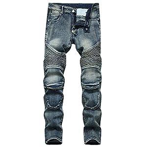 Men's Biker Moto Skinny Stretchy Distressed Jeans Casual Slim Fit Pants