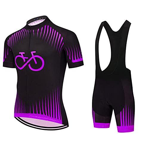HXTSWGS Trajes de Jerseys de Ciclismo para Hombre, Equipo de Ropa de Bicicleta de Manga Corta de Verano Trajes de Ciclismo con Cremallera completa-A01_S