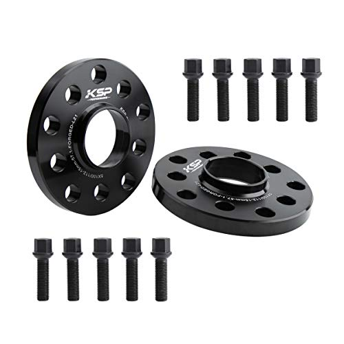 KSP 5X100 & 5X112 Wheel Spacers, 2PCS 15mm Hubcentric Forged Spacers with Sphere Seat Lug Bolts fit for A3 A4 A6 A8 S4 S6 S8 Quattro TT 5 Lug Thread Pitch M14x1.5 Hub Bore 57.1mm