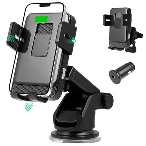 Wireless Charger Auto Handyhalterung Auto Mit Ladefunktion, Polmxs 15W Qi Ladestation auto mit Automatischer Kfz Induktion QC 3.0 Kabelloses Auto Ladegerät für iPhone 12/11/XS/XR Samsung S21/S20