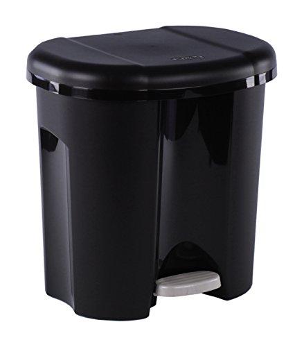 Rotho Abfalleimer Duo, Mülleimer mit zwei Abfallbehältern zum Mülltrennen, 2 x 10 l, Mülltrenner mit Trittfunktion, geruchsdichtes Verschließen, 39 x 32 x 40.5 cm (LxBxH), schwarz