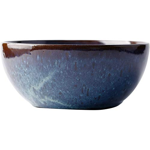 Tangrong Bowl, Europese Rough Aardewerk Knurled Salad Bowl, Creative Retro Grote noedelsoep Bowl een fruitschaal, Ronde Deep Dish Simple Mode Gepersonaliseerde Dessert Bowl, Blauw, 8,9 * 3.9in