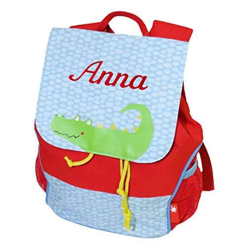 Sigikid Kinder Rucksack Krokodil mit Namen bestickt rot blau 28 cm x 16 cm x 24 cm für Kindergarten und Kita
