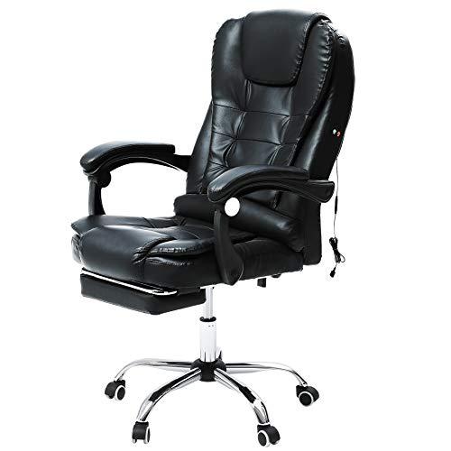 VONLUCE Chaise de Bureau avec Massage, Fauteuil de Bureau Pivotante, Chaise en Cuir PU avec Fonction Massage Réglable en Hauteur (avec Repose-Pieds)