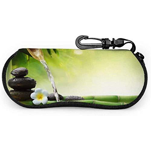 lymknumb Piedras en jardín con flujo de agua Bamboo Unisex Glasses Case Estuche de gafas de sol para mujerNeoprene Zipper Soft Case Art Sunglass Case