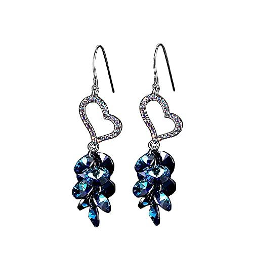 AZPINGPAN Pendientes de Diamantes de Colores con Colgante de Amor pequeño, Pendientes de Moda con borlas largas de Cristal Azul, Pendientes de Plata de Ley 925 Joyería exagerada Europea y Americana