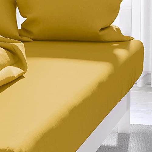 Atmosphère Zzz - Sábana Bajera Ajustable, Color Amarillo, 90 x 190 cm