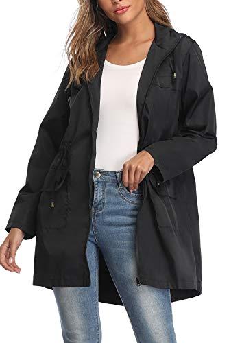 MISS MOLY Regenjacke Damen Windbreaker Wasserdicht Regenmantel Übergangsjacke Leichte Jacke mit Kapuze Schwarz Meidum
