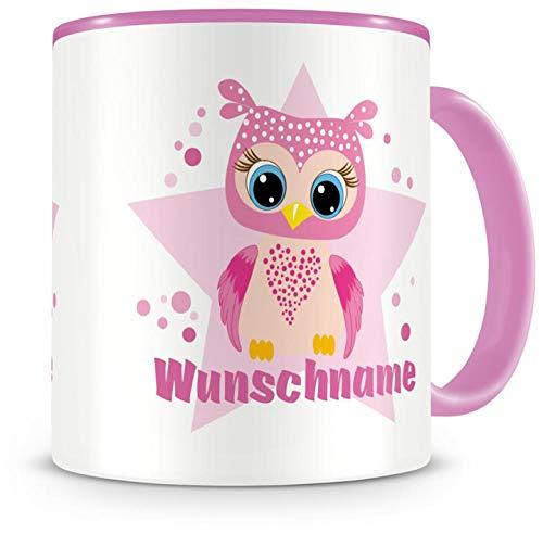Samunshi® Kinder-Tasse mit Namen und einer großen rosa Eule als Motiv Bild Kaffeetasse Teetasse Becher Kakaotasse Nr.4: rosa H:95mm / D:82mm