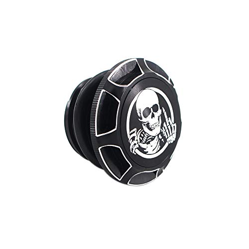 GUAIMI CNC Aluminum Fuel Gas Tank Oil Cap Compatible with Harley Sportster XL 1200 883 X48 Dyna - Skeleton Middle Finger (Black)
