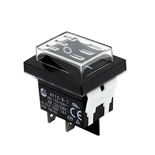 KEDU HY12-9-7 250V 18/20A Wasserdicht Knöpfe Schalter ON-OFF Elektrische WERKZEUGE Wippe Schalter Industrie Werkzeugmaschinen CE – Tüv 2 Stück (HY12-9-7)
