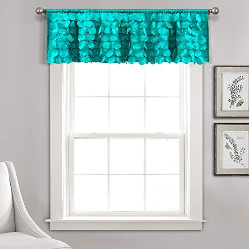 "Lush Decor Lush Décor, Turquoise Gigi Valance Textured Window Kitchen Curtain (Single), 14"" x 70"