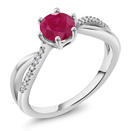 Gem Stone King Red Ruby Gemstone Birthstone 925 Sterling Silver Women's Ring (1.24 Cttw Round) (Size 8)