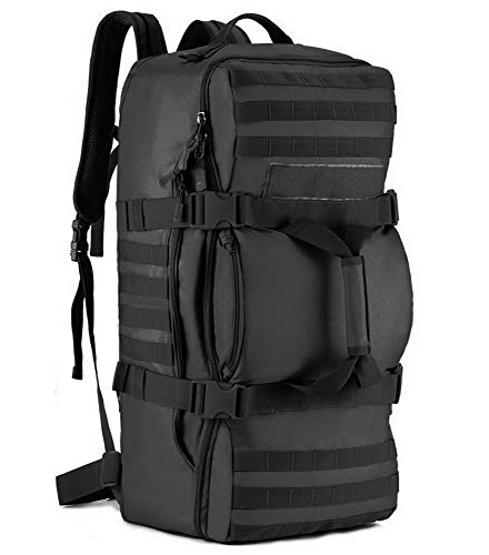 Tactical Multi-functional Travel Duffle Bag Camping Backpack Outdoor Luggage Military Duffel Assault Pack (Black)