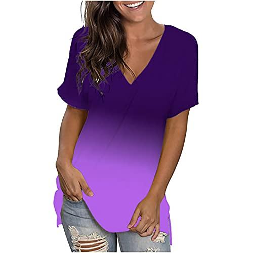 Kurzarm T Shirt Damen Oberteile Tops Sommer V-Ausschnitt Tunika Bluse Farbverlauf LäSsig Bluse Hemd Frauen Teenager MäDchen Leicht Praktisch Schlupfblusen Druckblusen