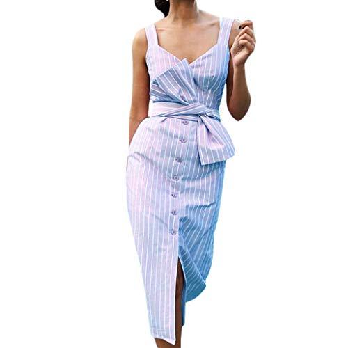 MERICAL Más el tamaño de la Moda de la Mujer Casual Estilo de Vacaciones de Rayas de impresión sin Mangas Vestido increíble Chica(Azul,XX-Large)