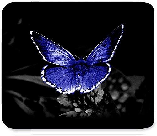 Schöner Retro purpurroter Fliegen-Kristallschmetterling und Blumen-Fantasie-Kunst-Muster entwerfen einzigartiges Rechteckmausunterlage 30 * 25 * 0.3cm Spiel