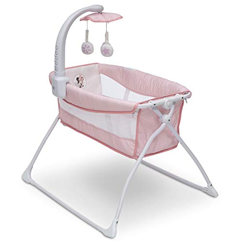 Delta Children Deluxe Activity Sleeper Bedside Bassinet - Folding Portable Crib for Newborns, Disney Minnie Mouse